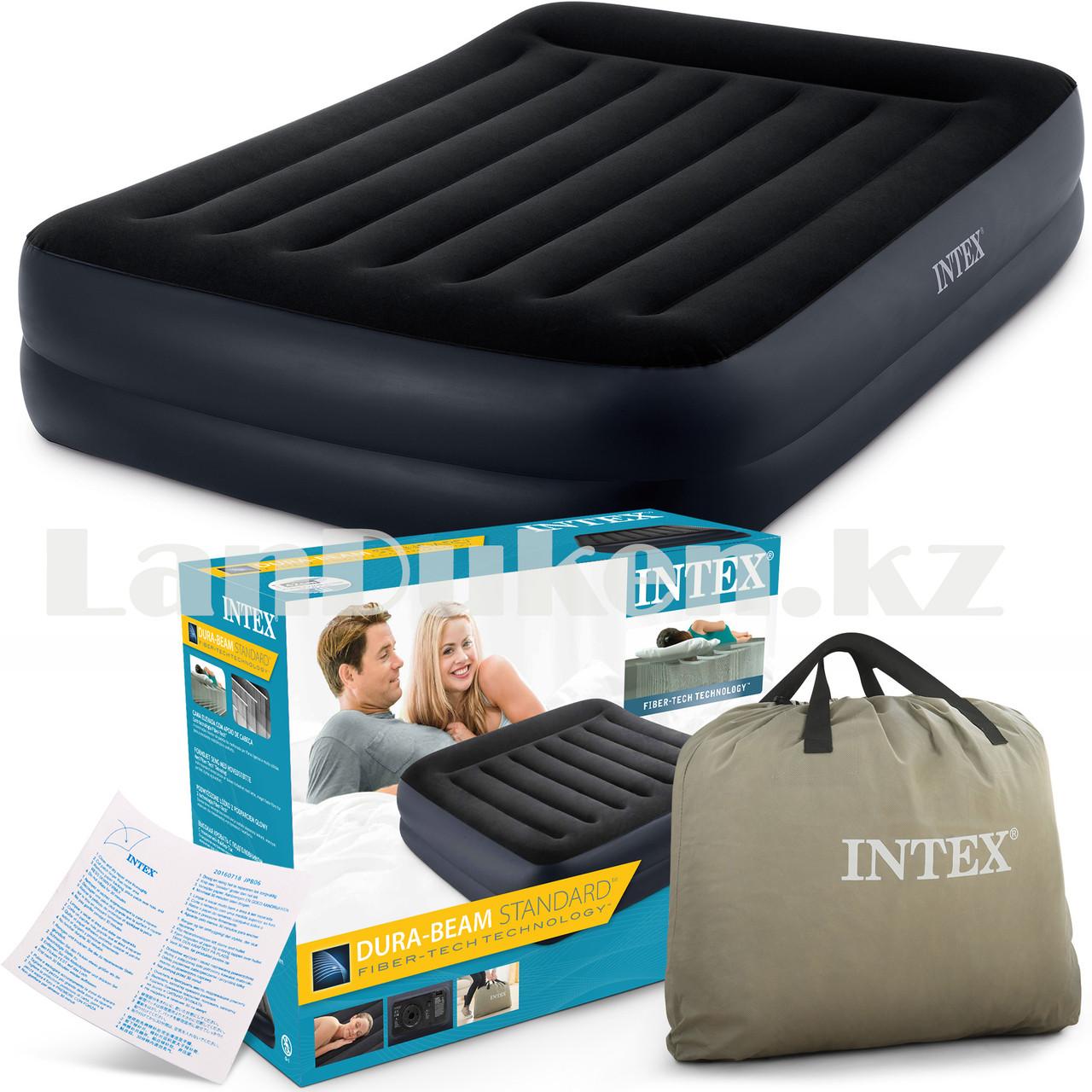 Надувной матрас двуспальный с подушкой Intex 152*203*42 см 64124 - фото 7