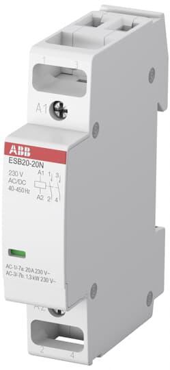 1SBE121111R0602 Модульный контактор ESB20-02N-06 (20А АС-1, 2НЗ), катушка 230 В AC/DC