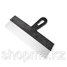 Шпатель из нержавеющей стали, 250 мм, зуб 6х6 мм, пластмассовая ручка // Россия