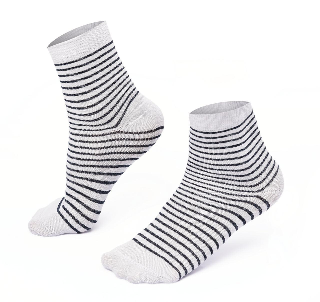 Носки мужские в полоску, белые,хлопок