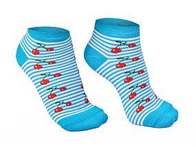 Носки женские, голубые в полоску с вишенкой
