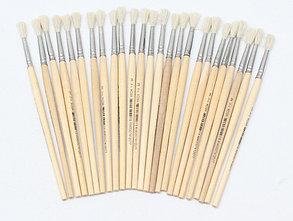 Кисть КОЗА круглая №03 (НК-0290) . деревянная ручка. в пакете с европодвесом. кратно 25