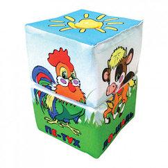 Мягкий кубик Развивающая игрушка-крутилка  Ферма