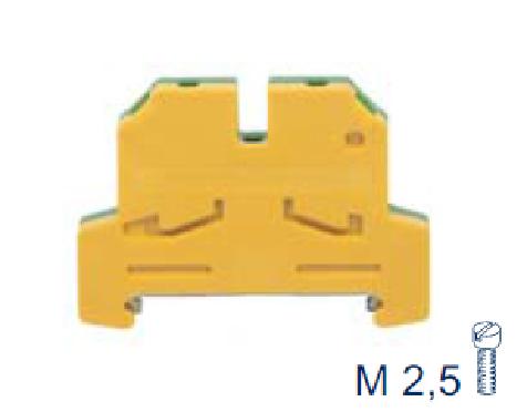 SLN 2,5/35 GNYE Проходная клемма заземления, Винтовое соединение, 2,5 mm², Conta Clip
