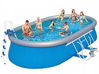 Каркасный бассейн овальный с надувным бортом Steel Pro Frame Pool Set 549*366*122 см 56461