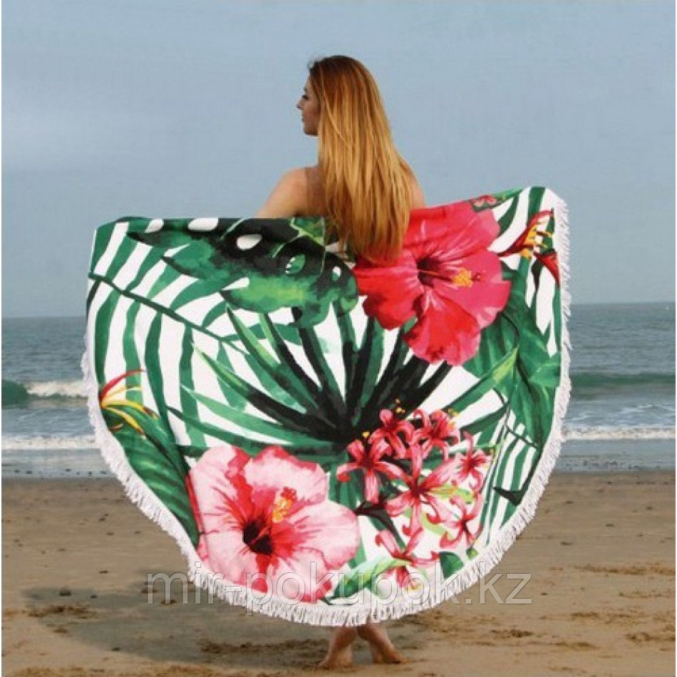 """Покрывало для отдыха """"Тропические цветы"""", микрофибра (пляжный коврик полотенце)"""