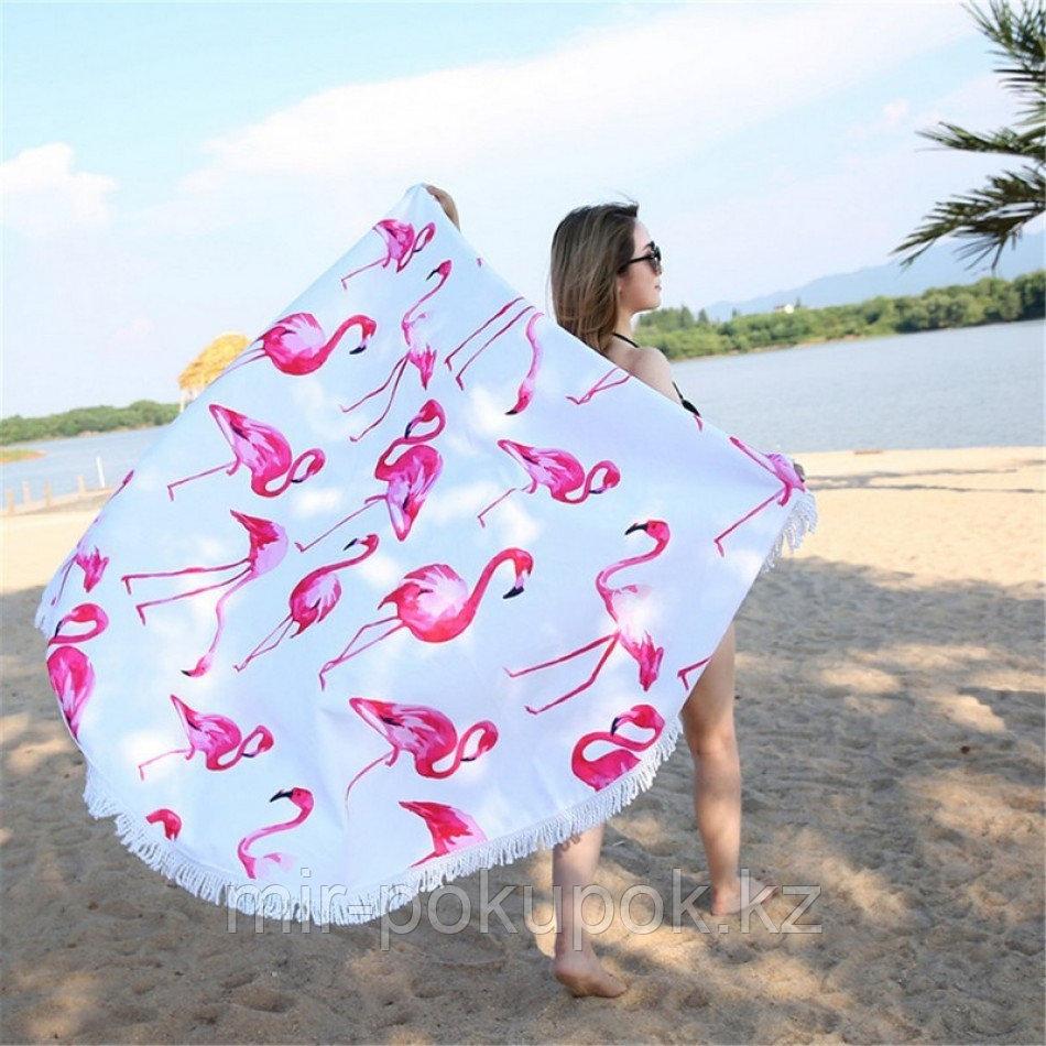 """Коврик для пляжа и отдыха """"Розовый фламинго"""" (пляжный коврик полотенце)"""