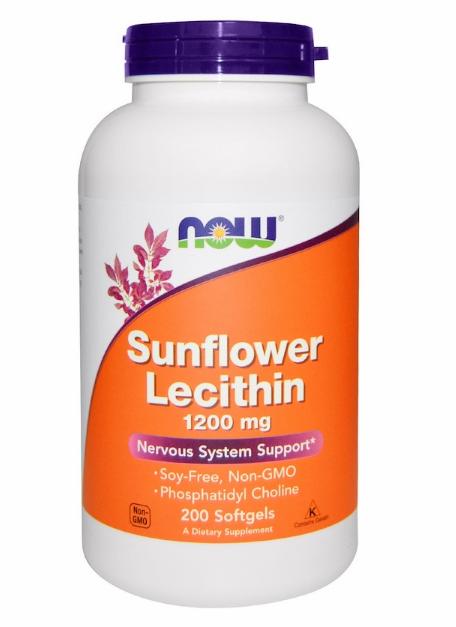 Now Foods, Лецитин из подсолнечника, 1200 мг, 200 мягких таблеток