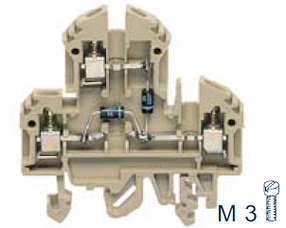 RKD 4/D5 BG Двухуровневая клемма с диодом, Винтовое соединение, 4 mm², 400 V, 10 A, Conta Clip