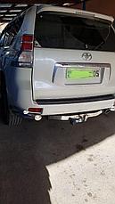 Защита заднего бампера комплект уголки двойные + фаркоп для Toyota Land Cruiser Prado 150 (2017г-), фото 3