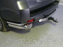 Защита заднего бампера комплект уголки двойные + фаркоп для Toyota Land Cruiser Prado 150 (2017г-), фото 2