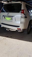 Защита заднего бампера комплект уголки одинарные + фаркоп для Toyota Land Cruiser Prado 150 (2017г-), фото 3