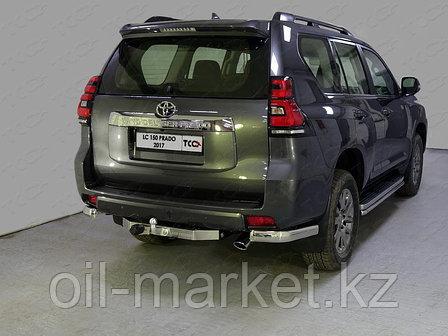 Защита заднего бампера комплект уголки одинарные + фаркоп для Toyota Land Cruiser Prado 150 (2017г-), фото 2