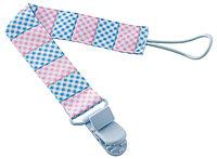 """Держатель для пустышек с игрушкой """"Голубой-Розовый"""". Ткань"""