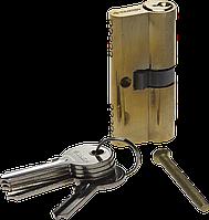 Цилиндровый механизм, тип ключ-ключ, английский тип ключа, длина 60мм цвет - латунь, серия «МАСТЕР», ЗУБР