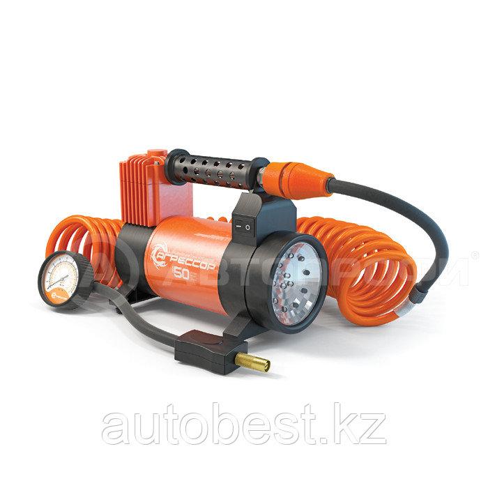 Компрессор автомобильный для легковых автомобилей. 50 л/мин с фонарем