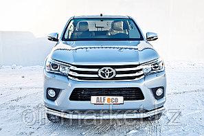Защита переднего бампера, длинная круглая для Toyota Hilux ( 2015-2018), фото 2