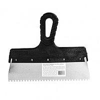 Шпатель из нержавеющей стали, 250 мм, зуб 4 х 4 мм, пластмассовая ручка Sparta, фото 1