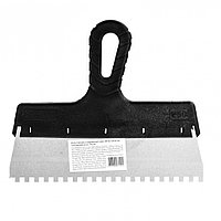 Шпатель из нержавеющей стали, 250 мм, зуб 6 х 6 мм, пластмассовая ручка Sparta, фото 1