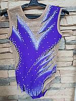 Купальник гимнастический для выступлений Ирис фиолетовый на рост 122 - 128, фото 1