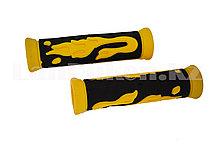 Грипсы резиновые для самоката и велосипеда черно-желтые