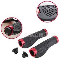 Грипсы резиновые с металлическим основанием для самоката и в велосипеда с мини-рогами черно-красные