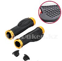 Грипсы резиновые с металлическим основанием для  самоката и велосипеда с мини-рогами черно-желтые