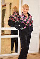 Женский брючный костюм, велюр набивной