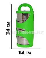 Ланч бокс четверной (Four layers) зеленый с секциями, ланч бокс для еды