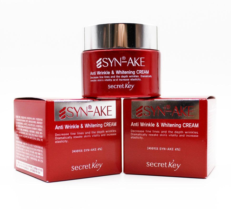 Крем для лица  Secret Key SYN-AKE Anti Wrinkle & Whitening Cream 100ml.