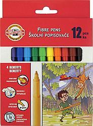 Koh-I-Noor Фломастеры смываемые Школьные, с трехгранным держателем, 12 цветов