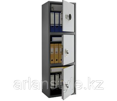 Бухгалтерский шкаф Практик SL-150/3Т EL, 3 ячейки (1 кодовый и 2 ключевых замка), 2 полками и трейзером