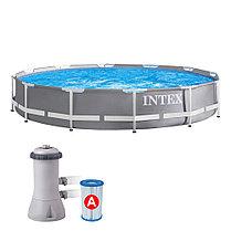 Круглый каркасный бассейн Intex 26712 ( 366 х 76 см, на 6503 литра + фильтр ), фото 2