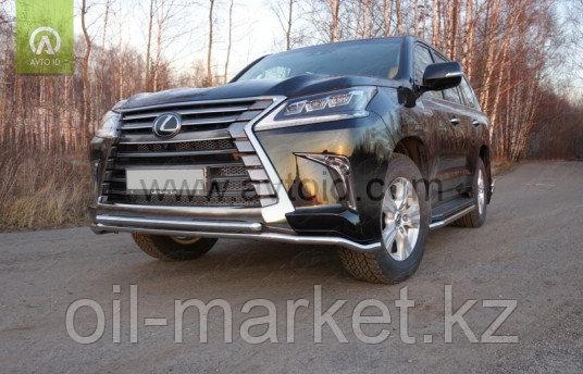 Защита переднего бампера, двойная круглая ( D42.4 мм) для Lexus LX 570 (2015-)