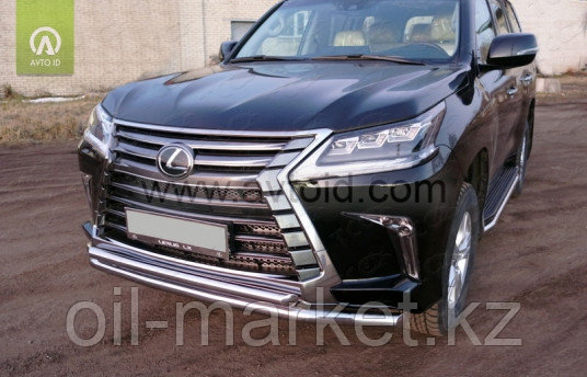 Защита переднего бампера, двойная круглая  для Lexus LX 570 (2015-)