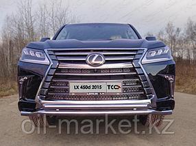 Защита переднего бампера, двойная круглая  для Lexus LX 570 (2015-), фото 2