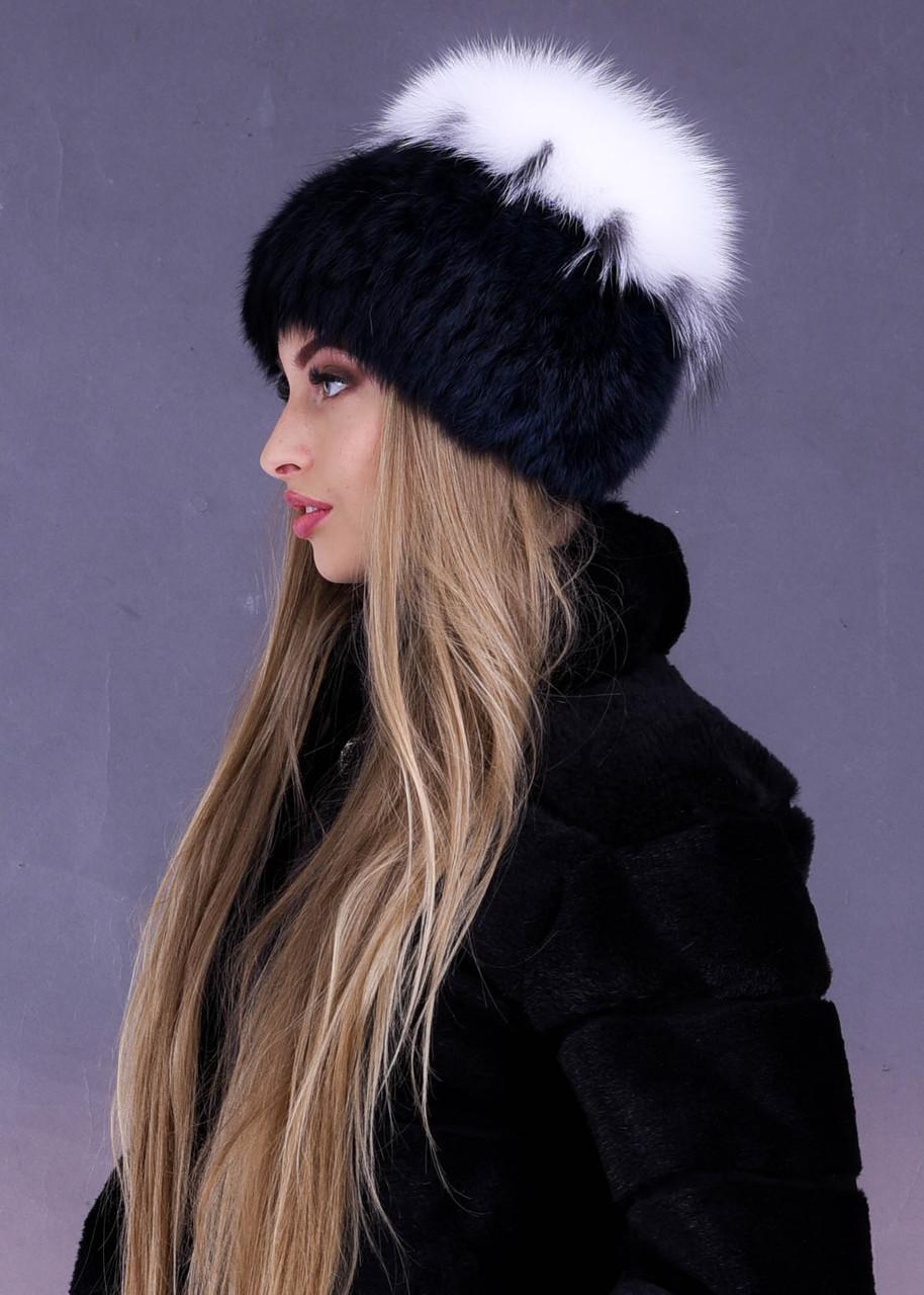 Меховая женская шапка из натурального меха белого песца