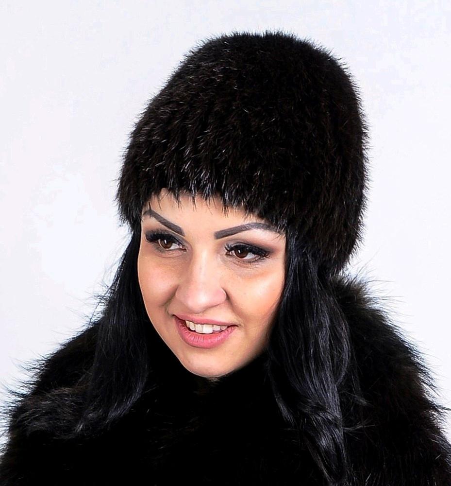Черная меховая шапка из натурального меха стриженой нутрии