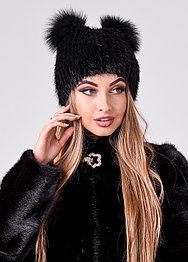 Женская меховая шапка с ушками черного цвета, осенне зимний вариант