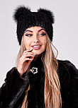 Женская меховая шапка с ушками черного цвета, осенне зимний вариант, фото 3