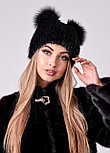 Женская меховая шапка с ушками черного цвета, осенне зимний вариант, фото 2