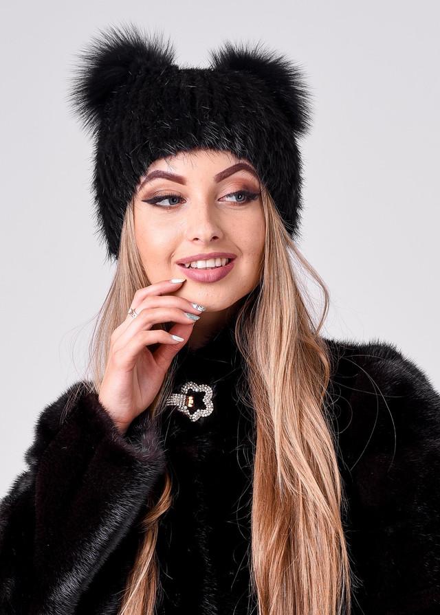 Черная меховая шапка с ушками, купить Астана