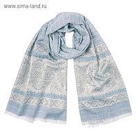 Палантин текстильный PJ1658_06, цвет голубой, размер 68х180