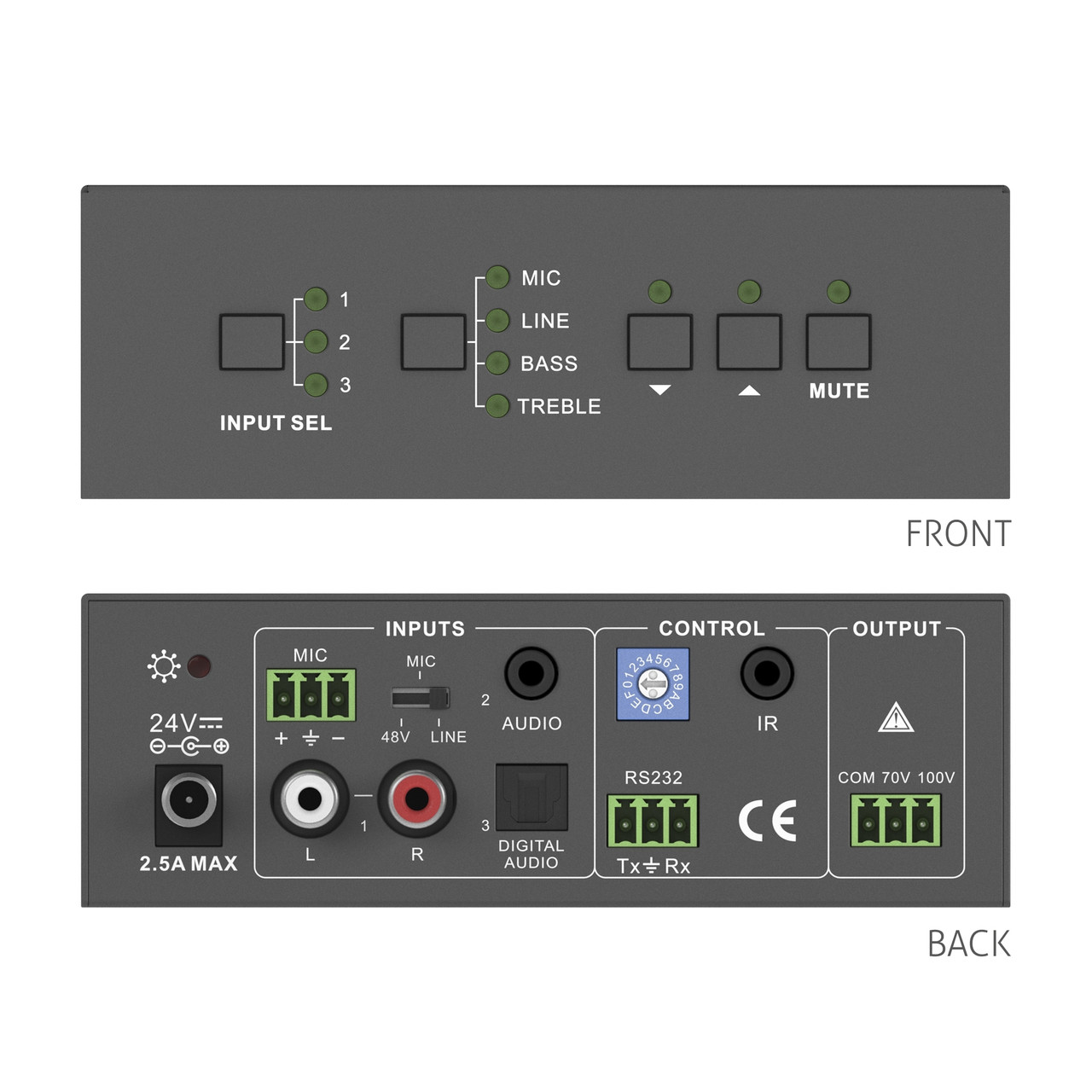 Аудиоусилитель PureLink PT-AA140 (40W, 70/100V)