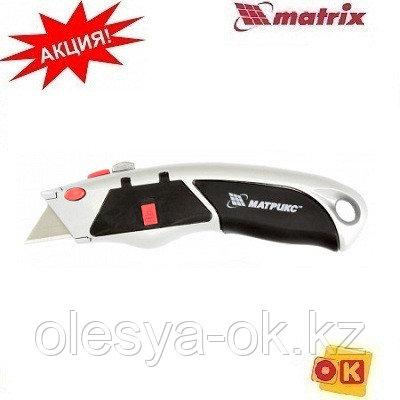 Нож 19 мм, выдвижное трапециевидное лезвие. MATRIX 78924