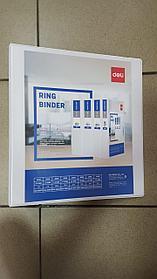 Папка на 4 кольца, A4, 100мм, PVC, белая Deli