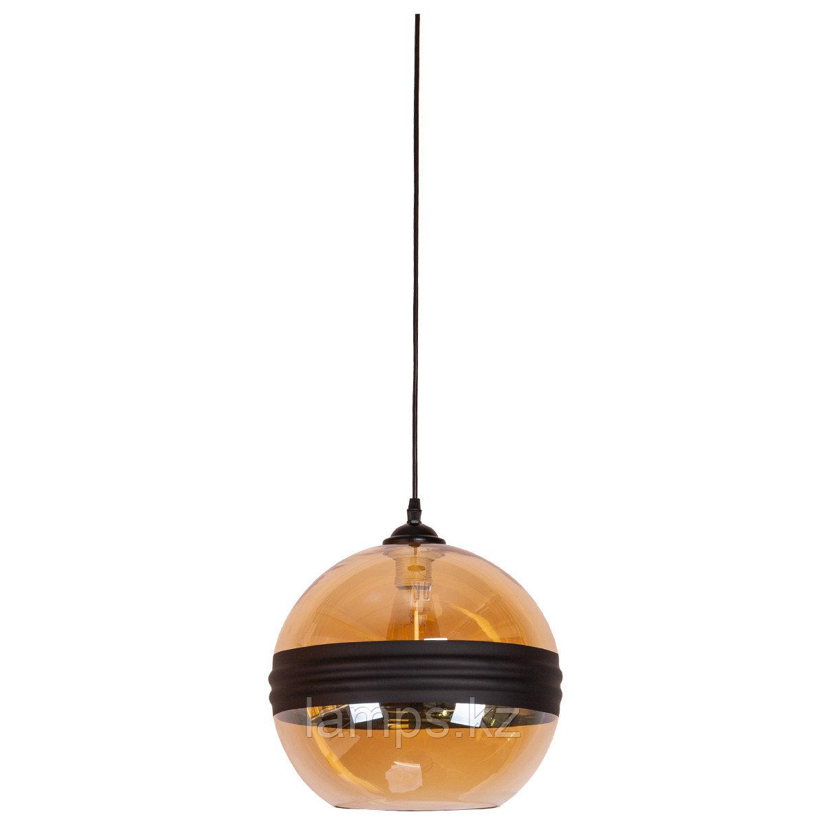 Люстра подвесная 8010-1C GLASS CLEAR+Black   D300*H280мм