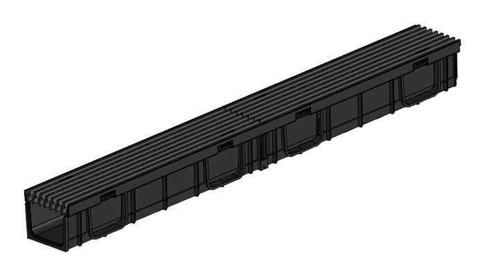 Комплект Gidrolica Light: лоток водоотводный ЛВ -100х115х95 - пластиковый с решеткой РВ- 100х110х500 пластиковой щелевой, кл. A15