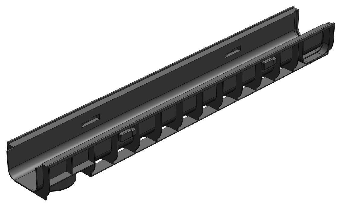 Лоток водоотводный Gidrolica Standart ЛВ-100х145х100 - пластиковый