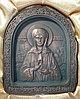 """Икона """"Святая Матрона"""" из камня Шунгит"""